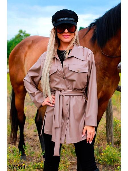 Удлиненная куртка из экокожи