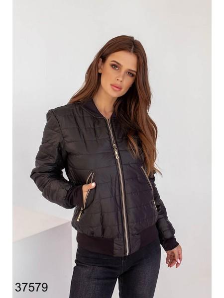Куртка короткая стеганная демисезонная черная