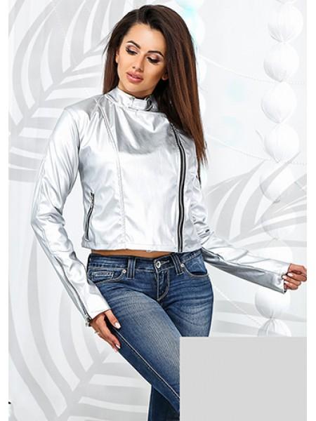 Жіноча коротка куртка косуха з екошкіри срібло металік ... 06c16e20af592