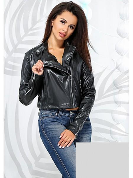 Жіноча коротка куртка косуха з екошкіри чорна ... e41b90a32ecf6