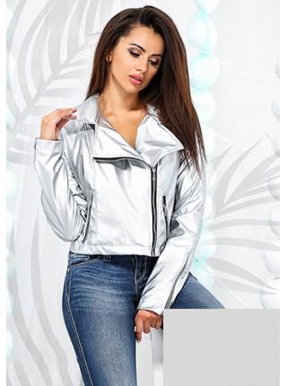 Женская короткая кожаная куртка косуха серебро металлик