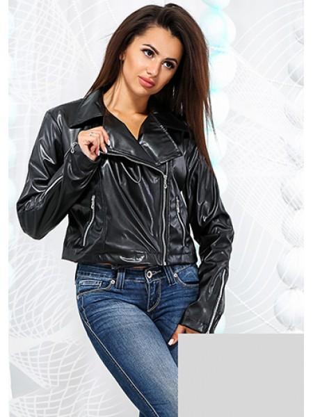 Жіноча шкіряна куртка косуха чорний ... 913ffc2a74720