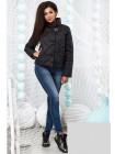Демисезонная куртка стежка ромб с высоким воротником стойкой 822579-82