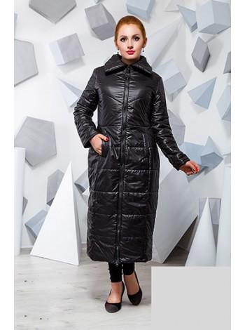 Длинное теплое пальто на синтепоне большого размера черное