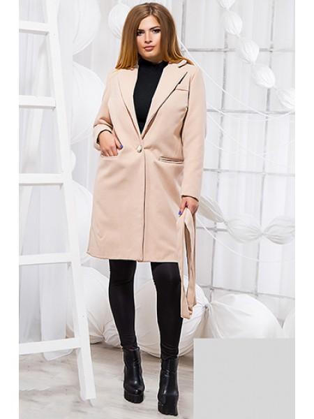 Пальто середньої довжини з коміром стійка застібка гудзика ... 9ad162acfa6a0