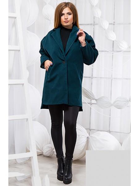 Стильное демисезонное пальто с удлиненной спинкой серое и бутылочное