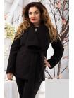 Женское короткое пальто на запах большого размера