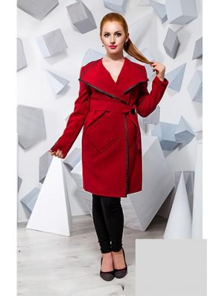 Женское пальто из кашемира с вставками  из эко-кожи