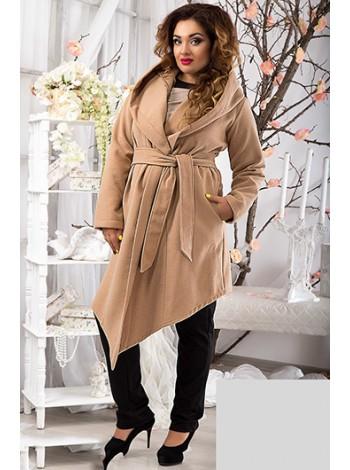 Женское демисезонное пальто с капюшоном и ассиметричным низом