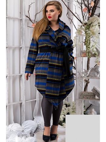 Батальное кашемировое пальто в полоску с капюшоном