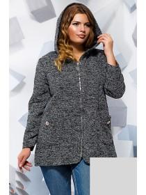 Короткое демисезонное пальто на молнии с капюшоном