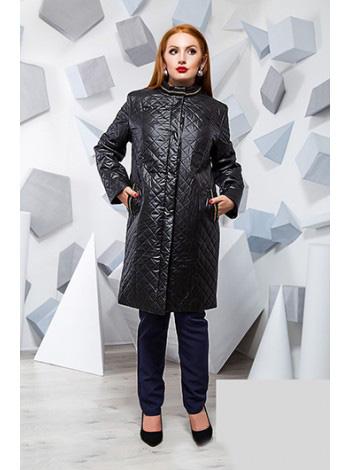 Черное стеганное пальто ромб на синтепоне