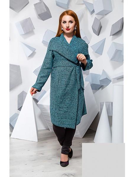 Батальное пальто кардиган букле бирюзового цвета