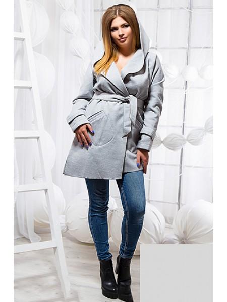 Модное короткое пальто с капюшоном кашемировое