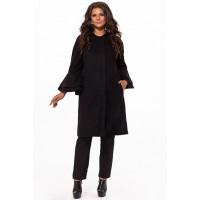 Шикарное женское пальто с рукавом воланы и потайной застежкой