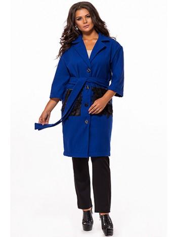 Женское пальто с укороченными рукавами и карманами эко-кожа с кружевом