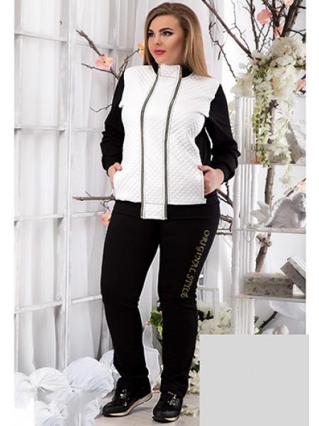 Жіночий модний спортивний костюм з трикотажу і эко-кожи для повних  813758-59 ... ed32eb69710b3