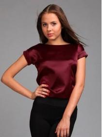"Атласная блуза с коротким рукавом ""LADY GR"" 8 цветов!"