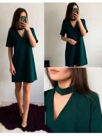 Платье с коротким рукавом Чокер