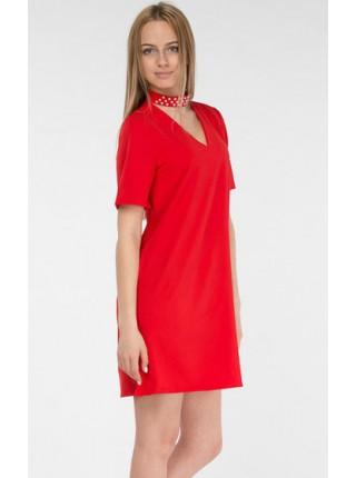 Летнее платье с чокером жемчуг