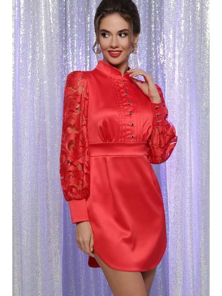 Атласное платье с кружевом Киприада