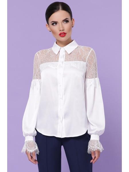 Шелковая блузка с кружевом Фарида