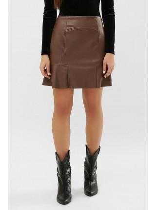 Короткая юбка из экокожи на флисе