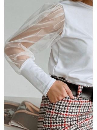 Нарядная женская блузка с прозрачными рукавами