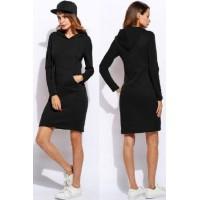 Теплое платье худи с капюшоном