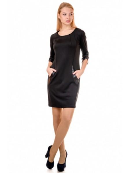 Трикотажна сукня з шкіряними вставками на кишенях d492b6a029b36