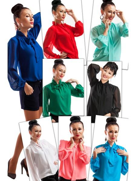 """Шифоновая классическая блузка """"PIANO"""", 7 цветов"""