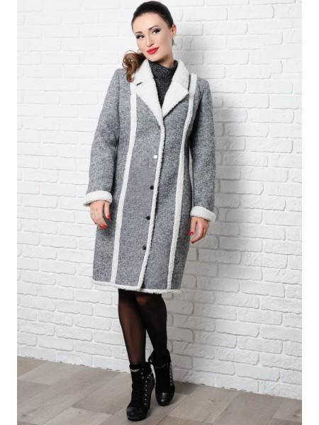 Теплое пальто на овчине Дореми