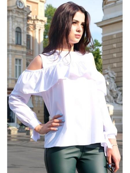 """Белая блузка с воланом """"ДИАМАНТ"""""""