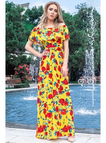 Платье в пол Венера принт