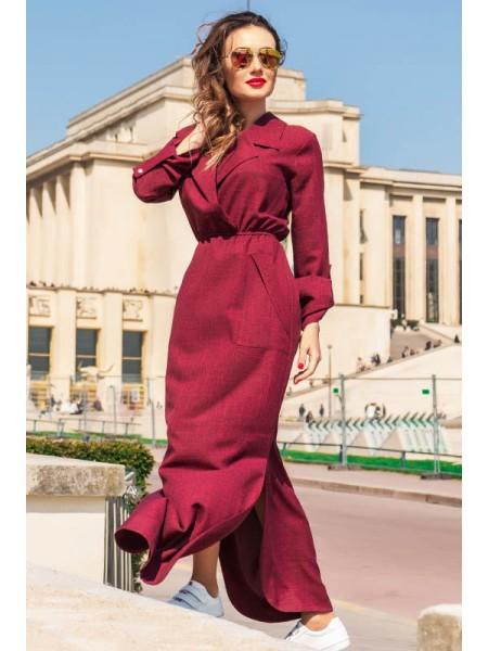Платье с длинным рукавом Шимер лен