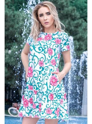 Летнее короткое платье Розетта принт