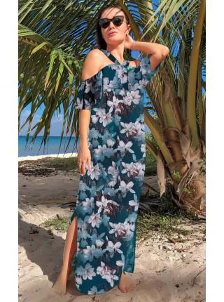 Летнее платье с открытыми плечами Маринет принт
