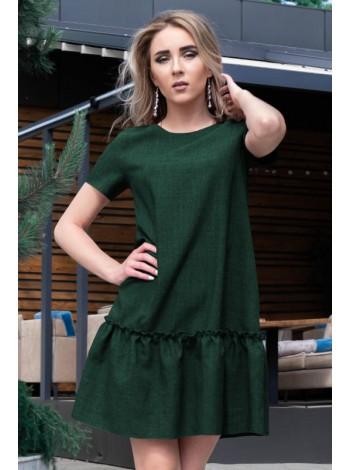 Однотонное платье с оборкой Розетта лен