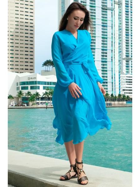 Шифоновое платье с длинным рукавом Милена