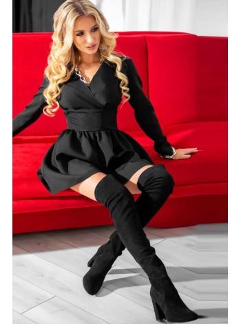 Короткое черное платье-шорты