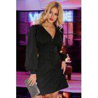 Короткое черное платье с пуговичками