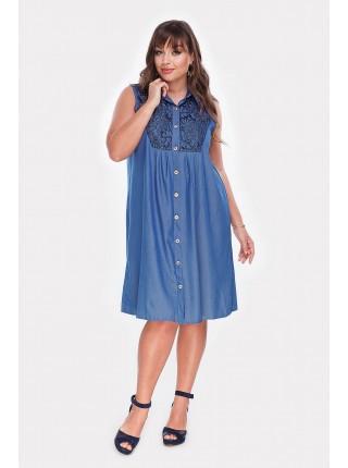 Батальное джинсовое платье Мармарис-1